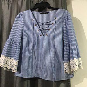 Zara basic lace up blouse